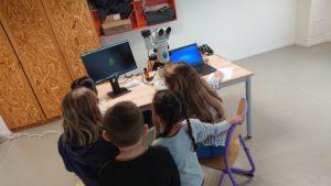 un groupe d'élèves observe un coeur de poisson à la loupe binoculaire avec une intervenante zebracool